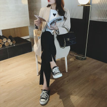 Women's large Spring 2021, summer 2021 Pre sale [black working days, 15-7] Large XL, large XXL, large XXL, large XXXXL, large XXXXL trousers singleton  commute easy moderate Solid color Korean version polyester Collage 25-29 years old pocket 96% and above trousers