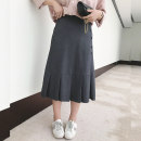Women's large Autumn of 2019 dark grey Large XL, large XXL, large XXL, large XXXXL, large XXXXL skirt singleton  commute easy moderate Solid color Korean version Polyester, others Collage Monica 25-29 years old Button 96% and above Medium length Pleated skirt