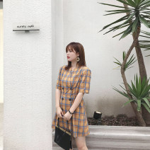 Women's large Summer of 2019 Graph color Large XL, large XXL, large XXL, large XXXXL, large XXXXL Dress singleton  commute easy moderate Cardigan Short sleeve lattice Retro other Polyester, others Collage routine Monica Button 96% and above Short skirt