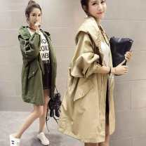 Windbreaker Autumn of 2019 S,M,L,XL,2XL,3XL White [high quality fabric], black [high quality fabric], khaki [high quality fabric], military green [high quality fabric], leggings Long sleeves routine Medium length commute zipper Hood Bat sleeve letter Bat type Korean version Other / other zipper