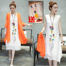 Dress Summer 2020 White, orange, pink, fruit green, white jacket piece, orange jacket piece, white vest skirt, pink vest skirt, fruit green vest skirt, white skirt s S. M, l, XL, 2XL, 3XL, same necklace for model Mid length dress Two piece set three quarter sleeve commute Crew neck middle-waisted