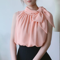 shirt White top, black pleated skirt, lotus root pink top, orange hip skirt, black top XS,S,M,L,XL,2XL Summer 2021 polyester fiber 96% and above Sleeveless commute Regular Scarf Collar Socket other Solid color 18-24 years old Straight cylinder Ol style Bows, ties, buttons Chiffon