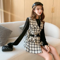 short coat Autumn 2020 S,M,L,XL White suit, black suit Long sleeves Two piece set pagoda sleeve 18-24 years old Other / other Splicing