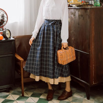 skirt Summer 2021 S,M,L Navy, khaki 9608, apricot 6001, black 6001, Burgundy 9613, apricot 9613, khaki 9613, apricot top Middle-skirt commute High waist A-line skirt lattice Type A 25-29 years old MMLP-8226 71% (inclusive) - 80% (inclusive) brocade Other / other cotton bow literature