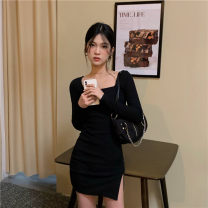 Dress Winter 2020 Apricot, black S,M,L,XL,2XL Short skirt singleton  Long sleeves commute square neck High waist Solid color Socket routine 18-24 years old Korean version 30% and below