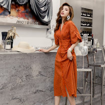 Dress Summer 2021 Light brown S,M,L Mid length dress singleton  elbow sleeve commute V-neck High waist Solid color Single breasted A-line skirt puff sleeve 25-29 years old Type X lady