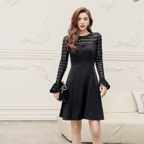 Dress Autumn 2020 black S,M,L Short skirt singleton  Long sleeves commute Crew neck High waist Solid color Socket A-line skirt routine Others 25-29 years old Type A lady Panel, zipper polyester fiber