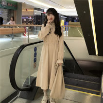 Dress Spring 2020 Average size longuette singleton  Long sleeves Sweet other Elastic waist Socket A-line skirt pagoda sleeve 18-24 years old Type A Other / other Button 91% (inclusive) - 95% (inclusive) corduroy polyester fiber college