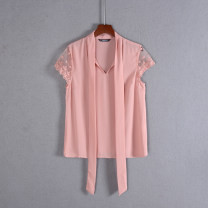 Lace / Chiffon Summer 2020 Pink S, M Short sleeve Sweet Socket singleton  Self cultivation Regular V-neck Solid color routine solar system