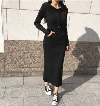Dress Autumn of 2019 Dark grey, light grey, black S,M,L,XL longuette Long sleeves routine cotton