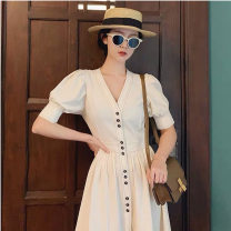 Dress Summer 2021 Beige S,XL,L,M longuette singleton  Short sleeve V-neck High waist Solid color Single breasted Big swing puff sleeve Others 25-29 years old Splicing 51% (inclusive) - 70% (inclusive) other