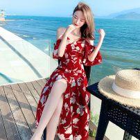 Dress Spring 2021 Picture color XL,M,L,S Mid length dress singleton  High waist 9867#