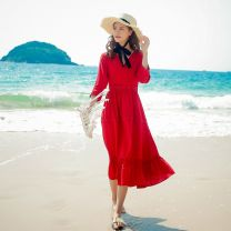 Dress Summer of 2018 Red, white longuette singleton  three quarter sleeve Sweet V-neck High waist Solid color zipper A-line skirt routine Others Type A Other / other Hollowed out, stitched, zipper, lace cotton Bohemia