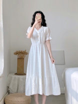 Dress Summer 2021 white S,XS,L,M longuette singleton  Short sleeve V-neck High waist Solid color Single breasted Big swing routine Others 25-29 years old Splicing 71% (inclusive) - 80% (inclusive) Chiffon