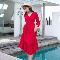Dress Spring 2021 gules 2XL,XL,S,L,M longuette singleton  V-neck High waist Solid color Socket A-line skirt Type A