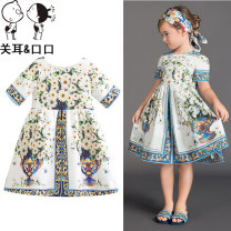 Dress Decor - spring and autumn dress, hairband, decor - light summer dress female Other / other Spot sale of 90cm / 2-3 years old, 100cm / 3-4 years old, 110cm / 4-5 years old, 120cm / 5-6 years old, 130cm / 7-8 years old and 140cm / 9-10 years old Cotton 82% polyester 18% summer Europe and America