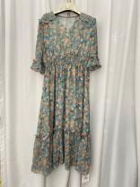 Dress Summer 2021 Blue flower M,L,XL,2XL Cool girl