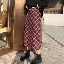 skirt Autumn of 2019 S,M,L Red grey check Mid length dress street High waist skirt lattice Type H More than 95% Leisure season polyester fiber Button Europe and America