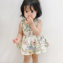 Jumpsuit / climbing suit / Khaki Other / other Class A female 66cm,73cm,80cm,90cm cotton summer Sleeveless Korean version There are models in the real shooting Freshmen, 3 months, 6 months, 12 months, 18 months
