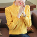 shirt Ginger [regular] ginger [Plush] S M L XL XXL XXXL Winter of 2019 cotton 96% and above Long sleeves commute Regular stand collar Single row multi button routine Solid color 35-39 years old Self cultivation Shanfei Lisa Korean version SF19C5990 Auricular button Cotton 100%