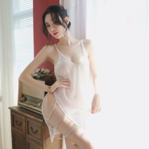 Nightdress Enjoy F & S / enjoymis White 239, black 239# Average size (85-135 kg) sexy camisole pajamas Short skirt Solid color youth V-neck nylon Metal decoration 81% (inclusive) - 95% (inclusive) Mesh fabric 239# 200g and below