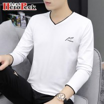 T-shirt Youth fashion routine M L XL 2XL 3XL Hero Peck Long sleeves V-neck Self cultivation Other leisure spring Cotton 95% polyurethane elastic fiber (spandex) 5% youth routine Youthful vigor Knitted fabric Spring 2021 Solid color Different color hemming cotton Color world No iron treatment
