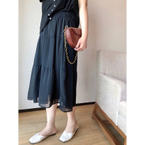 skirt Spring 2021 1X,2X,3X,4X,5X Lake blue, black, pink Mid length dress commute High waist Cake skirt Solid color Type A 25-29 years old Q61146#SC210324 Korean version
