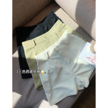 Women's large Spring 2021, summer 2021 Black, green, apricot 1X,2X,3X,4X trousers singleton  commute easy moderate Solid color Korean version polyester Three dimensional cutting K230297#YN210408 Xi Youzi 25-29 years old Button shorts