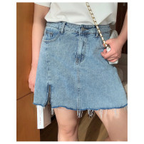 skirt Summer 2021 1X,2X,3X,4X Black, blue Middle-skirt commute Natural waist A-line skirt Solid color Type A 25-29 years old Q210250#YN210324 Korean version