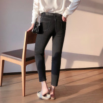 Jeans Spring 2021 Black, blue 31,32,33,34,36,38 Ninth pants Natural waist Pencil pants routine 25-29 years old Scratch pattern other light colour K3210#AD210118 Xi Youzi