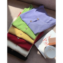 Women's large Spring 2021, summer 2021 Black, red, green, yellow, purple, apricot 1X,2X,3X Knitwear / cardigan singleton  commute Straight cylinder moderate Socket Short sleeve Solid color Korean version square neck routine Three dimensional cutting routine S7718#LT210324 Xi Youzi 25-29 years old