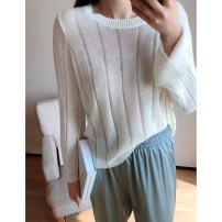 Women's large Spring 2021, summer 2021 Blue, white 1X,2X,3X Knitwear / cardigan singleton  commute Straight cylinder thin Socket Long sleeves Stripe, solid color Korean version Crew neck routine Polyester, acrylic Three dimensional cutting pagoda sleeve S7719#LT210402 Xi Youzi 25-29 years old