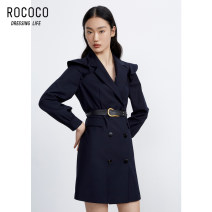 Dress Spring 2021 French Navy S M L XL Middle-skirt singleton  Long sleeves commute V-neck High waist double-breasted other Lotus leaf sleeve 25-29 years old Type H Rococo / Rococo Ol style 273413TA1103 71% (inclusive) - 80% (inclusive) polyester fiber Polyester 78.7% viscose (viscose) 21.3%