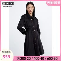 Dress Spring 2021 black S M L XL Mid length dress singleton  Long sleeves commute Polo collar High waist Single breasted Big swing routine 25-29 years old Type X Rococo / Rococo Korean version Lotus leaf edge 273823TA1110 81% (inclusive) - 90% (inclusive) Chiffon polyester fiber