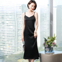 Dress Summer 2021 White blue black apricot S M L XL XXL XXXL XXXXL Mid length dress singleton  Sleeveless commute V-neck middle-waisted Solid color Socket A-line skirt routine camisole 25-29 years old Type A Mexuing Korean version Three dimensional decorative wave swallow tail with ruffles Chiffon