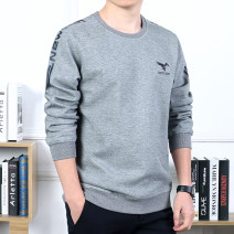 T-shirt Fashion City Grey, black, royal blue, light grey, black, royal blue routine M,L,XL,2XL,3XL Jeep shield Long sleeves Crew neck easy daily spring Cotton 82% polyester 18% routine Terry cloth 2019 Alphanumeric printing No iron treatment Domestic famous brands