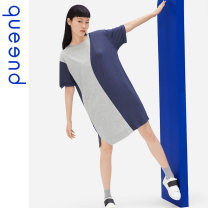 Nightdress Queen'd / Chundu Denim blue 155(S) 160(M) 165(L) 170(XL) 175(XXL) motion Short sleeve Leisure home Middle-skirt summer Solid color youth Crew neck Polyester (polyester) Mosaic decoration 41% (inclusive) - 60% (inclusive) QDWC05185 200g and below Summer 2021
