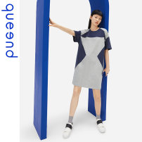 Nightdress Queen'd / Chundu Clouds and ashes 155(S) 160(M) 165(L) 170(XL) 175(XXL) motion Short sleeve Leisure home Middle-skirt summer Solid color youth Crew neck cotton Mosaic decoration More than 95% QDWC05090 200g and below Summer 2021 Cotton 100%