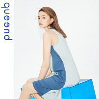 Nightdress Queen'd / Chundu Retro Blue S M L XL XXL Simplicity camisole Leisure home Short skirt summer Solid color youth Crew neck cotton More than 95% Summer 2020 Cotton 100% Same model in shopping mall (sold online and offline)