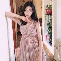 Dress Summer 2021 Nude apricot Xs, s, m, l, XL, support size customization Short skirt singleton  Sleeveless commute V-neck Elastic waist Solid color Socket Pleated skirt routine camisole 25-29 years old Type A Mstin Korean version Fold, wave T1104022 More than 95% Chiffon polyester fiber