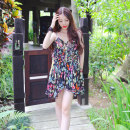 Dress Summer 2021 black Xs, s, m, l, XL, support size customization Short skirt Two piece set Sleeveless Sweet V-neck Elastic waist Broken flowers Socket Irregular skirt routine camisole 25-29 years old Type H Mstin More than 95% Chiffon nylon Ruili