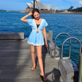Dress Summer 2021 sky blue Xs, s, m, l, XL, in case of broken code, please contact customer service Short skirt Two piece set Short sleeve Sweet V-neck middle-waisted Solid color Socket A-line skirt Bat sleeve Others 18-24 years old Type A Mstin Bandage, lace T1404015 More than 95% Crepe de Chine