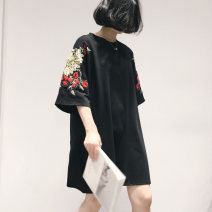 T-shirt 25-29 years old cotton 86% (inclusive) - 95% (inclusive) Short sleeve Summer 2021 Medium and long term Crew neck easy routine commute Plants and flowers classic Retro black FREE SIZE