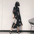 Dress Spring 2021 black FREE SIZE Mid length dress singleton  elbow sleeve commute Half open collar Loose waist Big flower Socket other shirt sleeve Others 25-29 years old Type H Retro Fold, button, print 81% (inclusive) - 90% (inclusive) Chiffon polyester fiber
