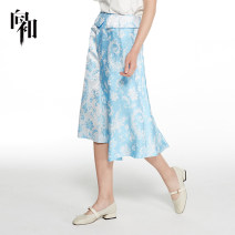 skirt Summer of 2019 155/S 160/M 165/L 170/XL wathet longuette fresh High waist Irregular other Type A 25-29 years old 51% (inclusive) - 70% (inclusive) other Viscose printing Viscose (viscose) 53.3% polyester 46.7% Same model in shopping mall (sold online and offline)
