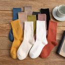 Socks / base socks / silk socks / leg socks female Wind fire rainforest Average size 5 pairs routine High tube autumn Simplicity Solid color cotton hygroscopic and sweat releasing