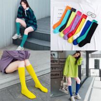 Socks / base socks / silk socks / leg socks female Wind fire rainforest Average size 2 pairs routine High tube autumn Simplicity Solid color cotton Leg shaping