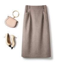skirt Winter 2020 S M L XL oatmeal  Mid length dress Versatile High waist skirt Solid color Type H DQ20160 31% (inclusive) - 50% (inclusive) Wool Qiazan / Qiao Sheng wool Pocket zipper panel Wool 50% polyester 50%