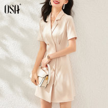 Dress Summer 2020 Apricot S,XL,M,L Mid length dress singleton  Short sleeve Sweet tailored collar double-breasted other routine Others 25-29 years old OSA Button S120QB13021 More than 95% polyester fiber