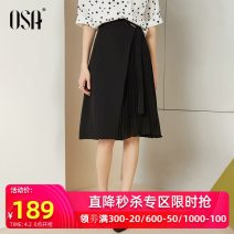 skirt Summer of 2019 XS,S,M,L,XL,XXL black Middle-skirt commute High waist other lattice Type A 25-29 years old S119QB51026 More than 95% other OSA polyester fiber Button Ol style
